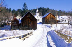 Methodist Church in Waits River, VT in winter snow Royalty Free Stock Photos
