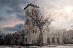 Methodist kerk tijdens zonsondergang in Evanston Chicago Stock Afbeelding