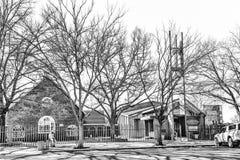 Methodist Kerk in Vereeniging in Gauteng Province zwart-wit stock foto's