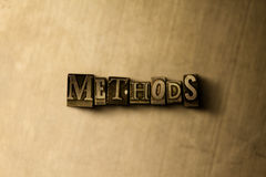 METHODS - close-up of grungy vintage typeset word on metal backdrop Royalty Free Stock Photography