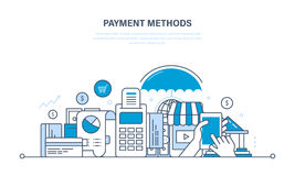 Methods and forms of payment,  cards, technology online payments. Methods and forms of payment, payment cards and systems, modern technology online payment Stock Image