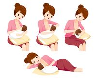Methods And Position For Mother Breastfeeding Baby Safet. Mother's day Suckling Infant Motherhood Innocence Royalty Free Stock Photo