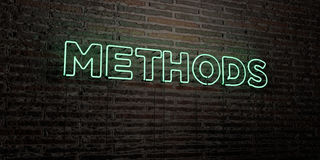 METHODS -Realistic Neon Sign on Brick Wall background - 3D rendered royalty free stock image Royalty Free Stock Image