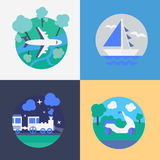 Methods of travel. Different Methods of travel. Flat vector illustration Royalty Free Stock Image