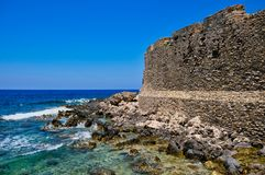 Methoni城堡和爱奥尼亚海,伯罗奔尼撒,希腊 免版税库存照片