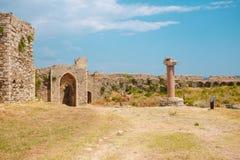 Methoni堡垒,在墙壁里面 库存图片