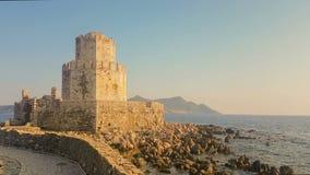 Methoni,希腊2017年8月4日 Methoni城堡看法在希腊 股票录像