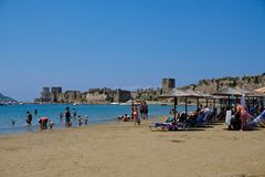 Methoni Beach and Castle, Peloponnese, Greece royalty free stock photo