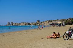Methoni Beach and Castle, Peloponnese, Greece stock photos