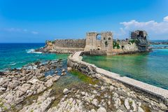 Methoni fortress, sea gate, Messenia, Greece. The Methoni Venetian Fortress in the Peloponnese, Messenia, Greece stock images