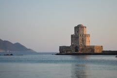 Methonis老城堡Bourtzi日落 库存照片