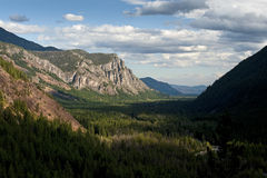 Methow Valley, Washington State, USA. A viewpoint on the road to Hart's Pass looking at the the North Cascade mountains and the National Forest Royalty Free Stock Image