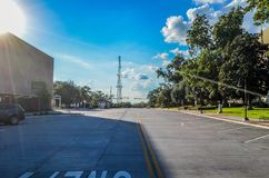 Methvin Street. A beautiful view in downtown Longview with a clear blue Stock Photo