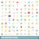 100 metier icons set, cartoon style. 100 metier icons set in cartoon style for any design vector illustration Royalty Free Stock Images