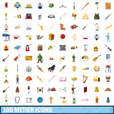 100 metier icons set, cartoon style. 100 metier icons set in cartoon style for any design vector illustration Stock Photos