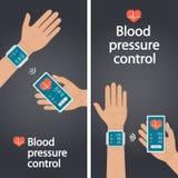 Meting en toezicht op bloeddruk met moderne gadgets en mobiele toepassingen Mens die slagaderlijk bloeddrukverstand controleren royalty-vrije illustratie