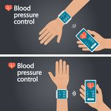 Meting en toezicht op bloeddruk met moderne gadgets en mobiele toepassingen Mens die slagaderlijk bloeddrukverstand controleren vector illustratie