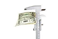 Meting van dollars Royalty-vrije Stock Foto