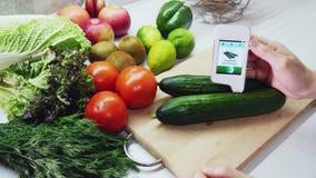 Meting voor de inhoud van nitraten in komkommer stock footage