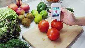 Meting voor de inhoud van nitraten in tomaat stock footage