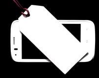 Metka z telefonem komórkowym na drewnianym tle pusta etykiety Zdjęcie Royalty Free