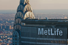 Metlife et constructions New York City de Chrysler Image libre de droits