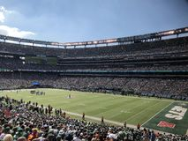MetLife Stadium. MetLife Stadium home of the New York Jets located in East Rutherford New Jersey. This is a regular season NFL game being played royalty free stock photo