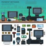 Metodi di pagamento con i dispositivi sulla tavola Immagini Stock Libere da Diritti