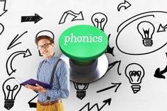Metodo di insegnamento fonetico contro il pulsante verde digitalmente generato Fotografia Stock