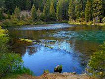 Metolius Bend. A bend in the Metolius River at Lower Bridge Campground - near Camp Sherman, OR stock photography