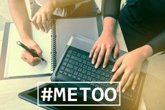 MeToo hashtag on workplace background. metoo as a new movement. As part of anti sexual harassment royalty free stock images