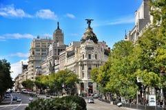Metrópoli del edificio, Madrid Imagen de archivo libre de regalías
