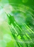 Metrópoli futurista, elementos radiales de HUD y bokeh verde libre illustration