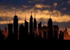 Metrópoli ideal con puesta del sol, silueta del paisaje urbano, ejemplo de la ciudad del horizonte de los rascacielos Imágenes de archivo libres de regalías
