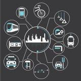 Metrópoli y tránsito público libre illustration