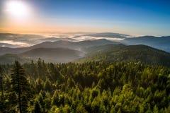 1257 metrów wzrostu górę góry Poland skrzyczne świetle wschodu słońca Zdjęcie Royalty Free