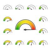 metr podpisuje infographic wymiernika element od zieleni czerwień Obrazy Stock