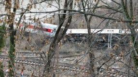 Metra Północny taborowy wykolejenie w Bronx Zdjęcie Royalty Free