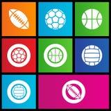 Metra stylowe sportów piłek ikony ilustracja wektor
