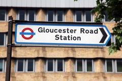 Metra szyldowa Gloucester Droga Zdjęcia Stock