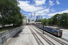 Metra Trains into the city of Chicago. May be used to advertise for train transportation ads stock photos