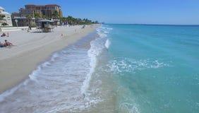 Metragem aérea da praia de Hollywood Florida, EUA imagens de stock