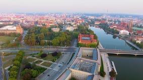 Metragem aérea de Wroclaw, capital europeia da cultura centro filme