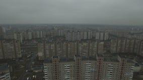 A metragem aérea do soviete cinzento abriga o teste padrão Casas idênticas de URSS filme