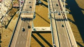Metragem aérea do zangão da ponte nova de Tappan Zee filme