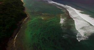 Metragem aérea do zangão 4k das ondas de oceano que quebram antes da costa Bali, Indonésia vídeos de arquivo