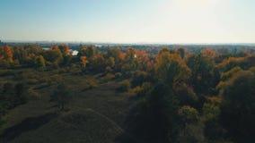 Metragem aérea do zangão Migrar sobre a floresta do outono ao rio no por do sol filme