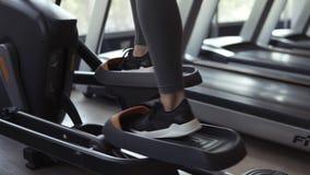 Metragem apontada de um instrutor elíptico dentro no fitness center no trabalho Menina no gym perto de uma janela, estilo de vida vídeos de arquivo
