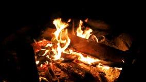 Metragem ascendente próxima do fogo na noite vídeos de arquivo