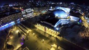 Metragem conservada em estoque, teatro Opera da vista aérea e bailado Novosibirsk vídeos de arquivo